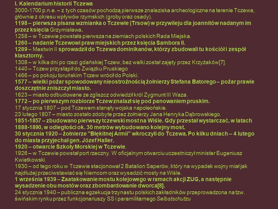 I. Kalendarium historii Tczewa 3000-1700 p.n.e.