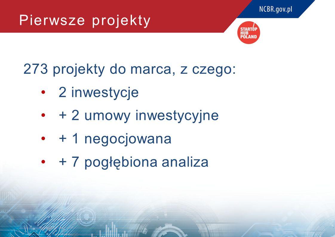 Pierwsze projekty 273 projekty do marca, z czego: 2 inwestycje + 2 umowy inwestycyjne + 1 negocjowana + 7 pogłębiona analiza
