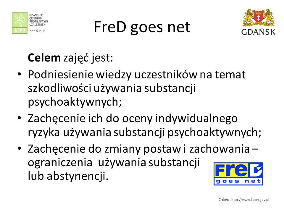 FreD goes net Celem zajęć jest: Podniesienie wiedzy uczestników na temat szkodliwości używania substancji psychoaktywnych; Zachęcenie ich do oceny indywidualnego ryzyka używania substancji psychoaktywnych; Zachęcenie do zmiany postaw i zachowania – ograniczenia używania substancji lub abstynencji.
