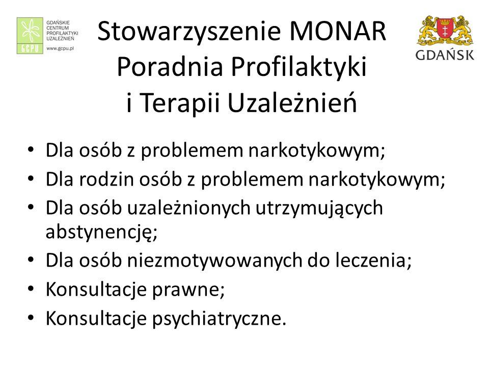 Stowarzyszenie MONAR Poradnia Profilaktyki i Terapii Uzależnień Dla osób z problemem narkotykowym; Dla rodzin osób z problemem narkotykowym; Dla osób uzależnionych utrzymujących abstynencję; Dla osób niezmotywowanych do leczenia; Konsultacje prawne; Konsultacje psychiatryczne.
