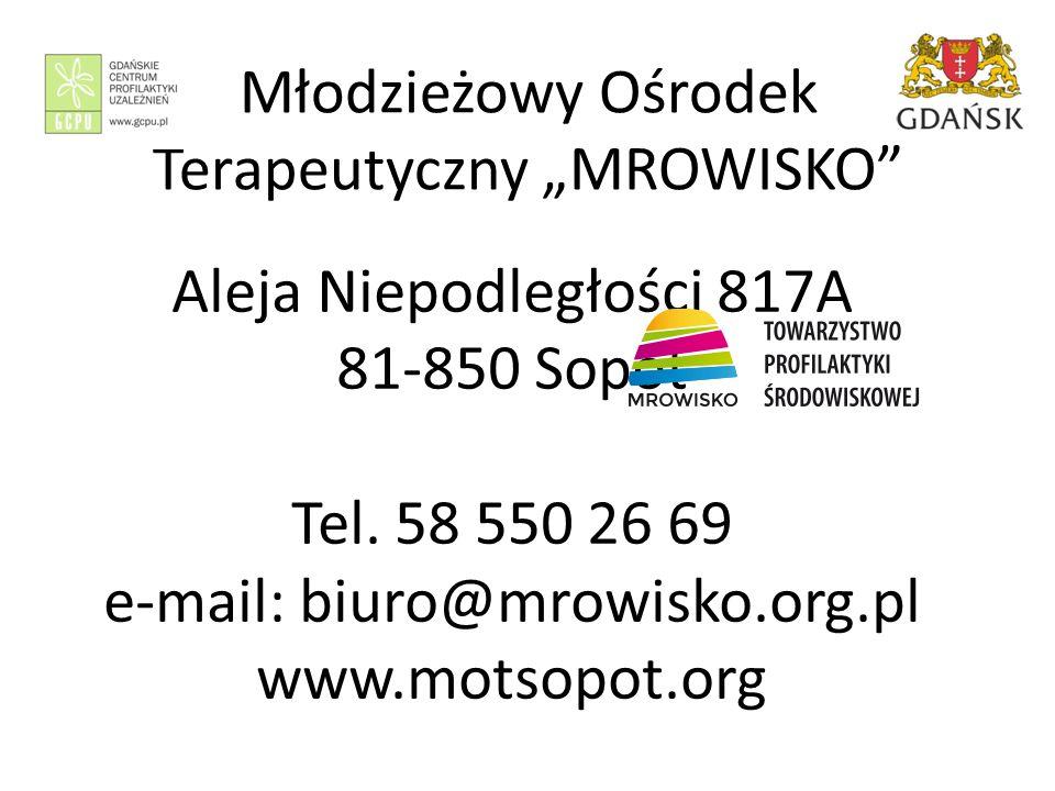 """Młodzieżowy Ośrodek Terapeutyczny """"MROWISKO Aleja Niepodległości 817A 81-850 Sopot Tel."""