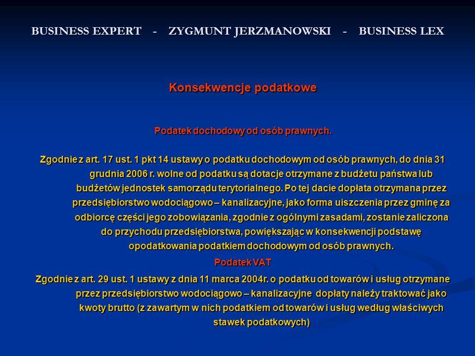 BUSINESS EXPERT - ZYGMUNT JERZMANOWSKI - BUSINESS LEX Konsekwencje podatkowe Podatek dochodowy od osób prawnych.