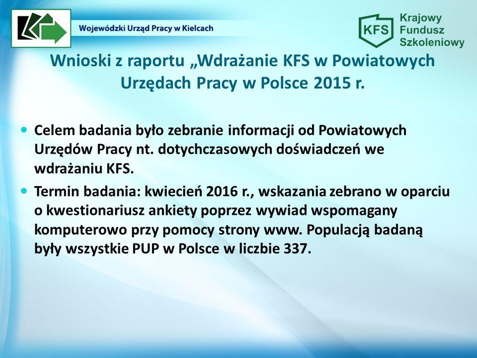 """Wnioski z raportu """"Wdrażanie KFS w Powiatowych Urzędach Pracy w Polsce 2015 r. Celem badania było zebranie informacji od Powiatowych Urzędów Pracy nt."""