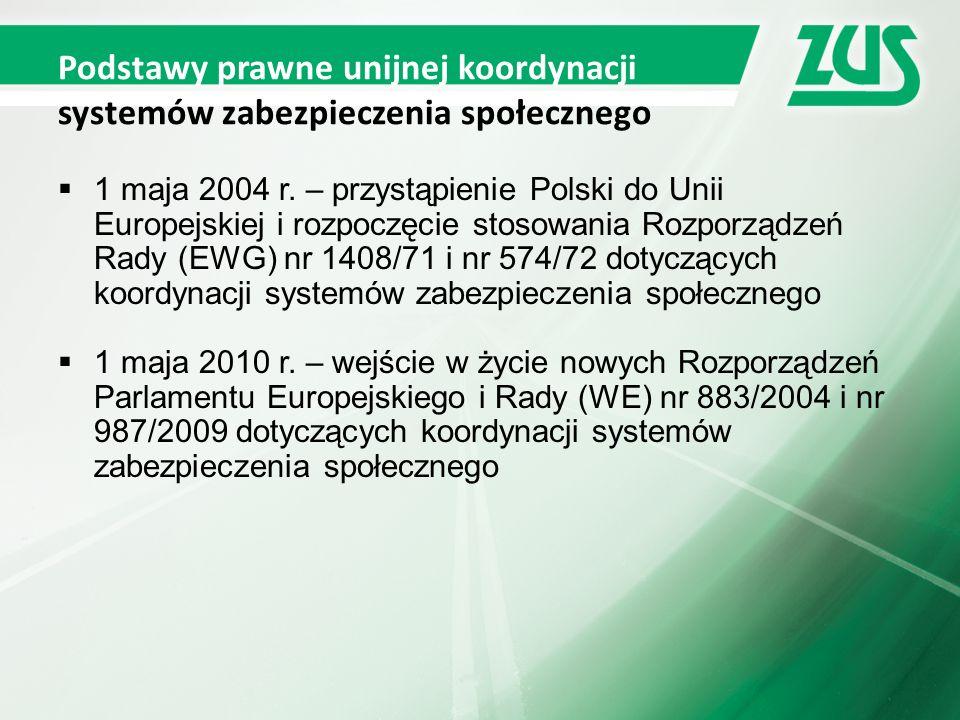 Podstawy prawne unijnej koordynacji systemów zabezpieczenia społecznego  1 maja 2004 r.