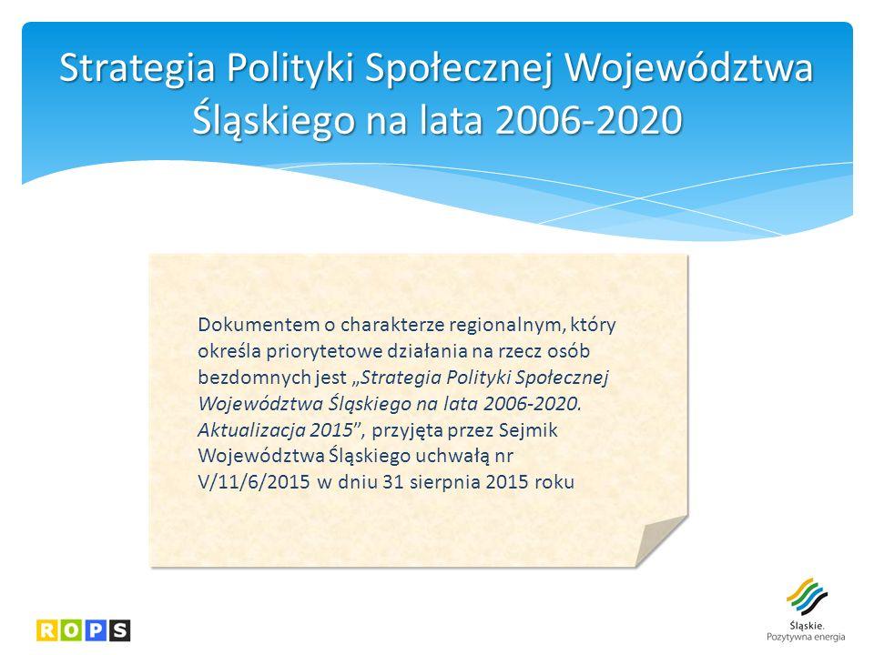 """Strategia Polityki Społecznej Województwa Śląskiego na lata 2006-2020 Dokumentem o charakterze regionalnym, który określa priorytetowe działania na rzecz osób bezdomnych jest """"Strategia Polityki Społecznej Województwa Śląskiego na lata 2006-2020."""