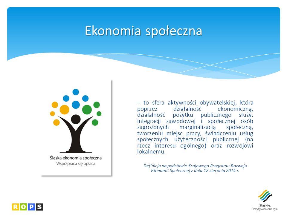 – to sfera aktywności obywatelskiej, która poprzez działalność ekonomiczną, działalność pożytku publicznego służy: integracji zawodowej i społecznej osób zagrożonych marginalizacją społeczną, tworzeniu miejsc pracy, świadczeniu usług społecznych użyteczności publicznej (na rzecz interesu ogólnego) oraz rozwojowi lokalnemu.