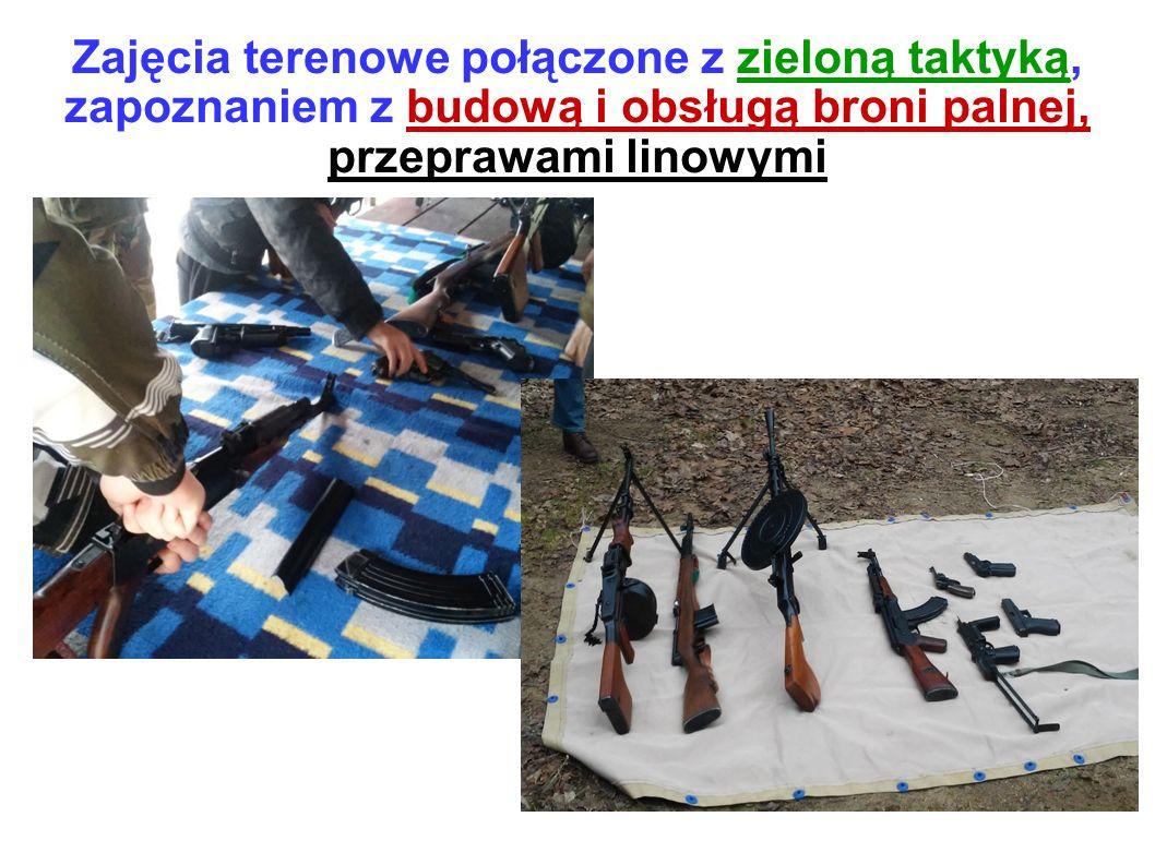 Zajęcia terenowe połączone z zieloną taktyką, zapoznaniem z budową i obsługą broni palnej, przeprawami linowymi