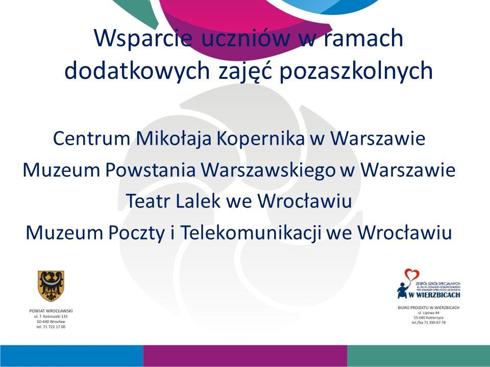 Wsparcie uczniów w ramach dodatkowych zajęć pozaszkolnych Centrum Mikołaja Kopernika w Warszawie Muzeum Powstania Warszawskiego w Warszawie Teatr Lalek we Wrocławiu Muzeum Poczty i Telekomunikacji we Wrocławiu