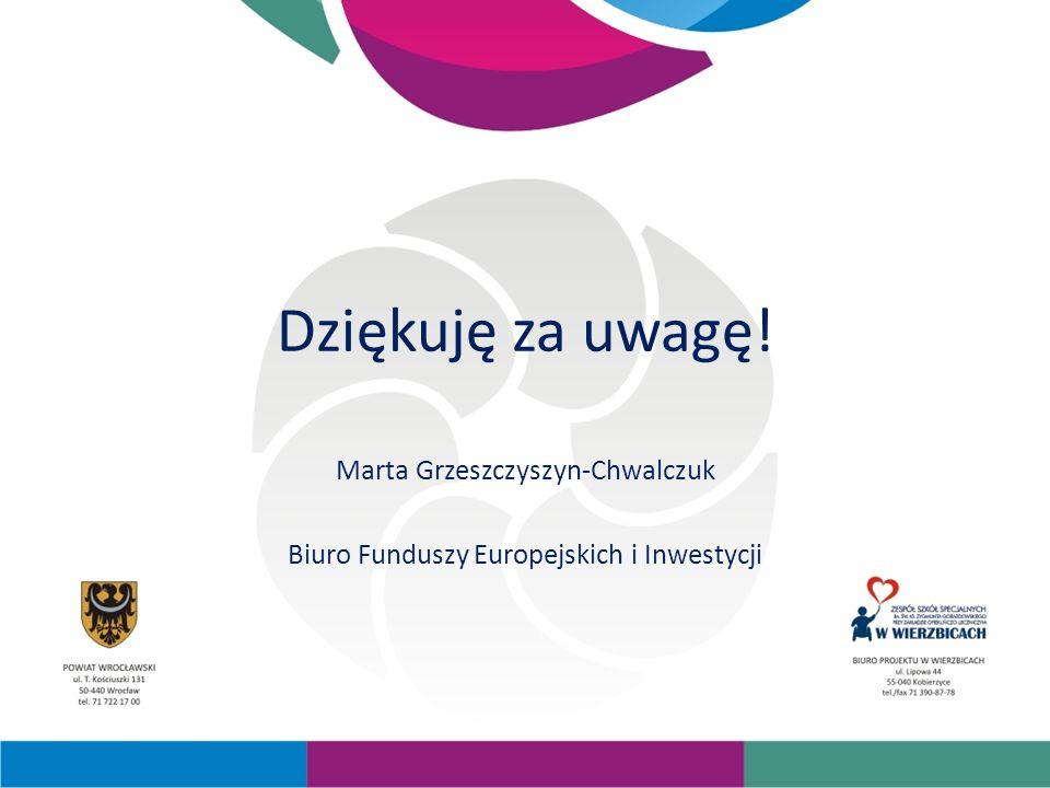 Dziękuję za uwagę! Marta Grzeszczyszyn-Chwalczuk Biuro Funduszy Europejskich i Inwestycji