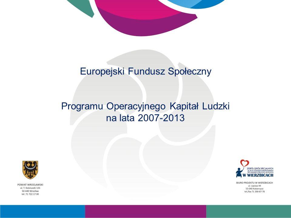 Europejski Fundusz Społeczny Programu Operacyjnego Kapitał Ludzki na lata 2007-2013