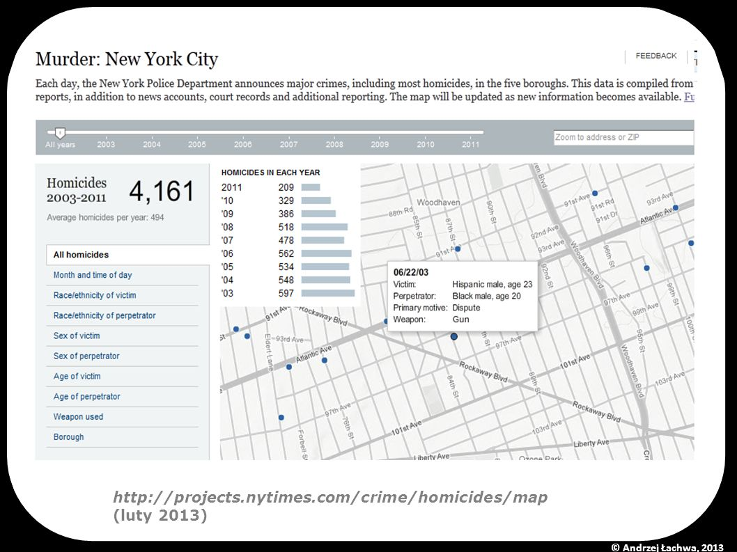 http://projects.nytimes.com/crime/homicides/map (luty 2013) © Andrzej Łachwa, 2013