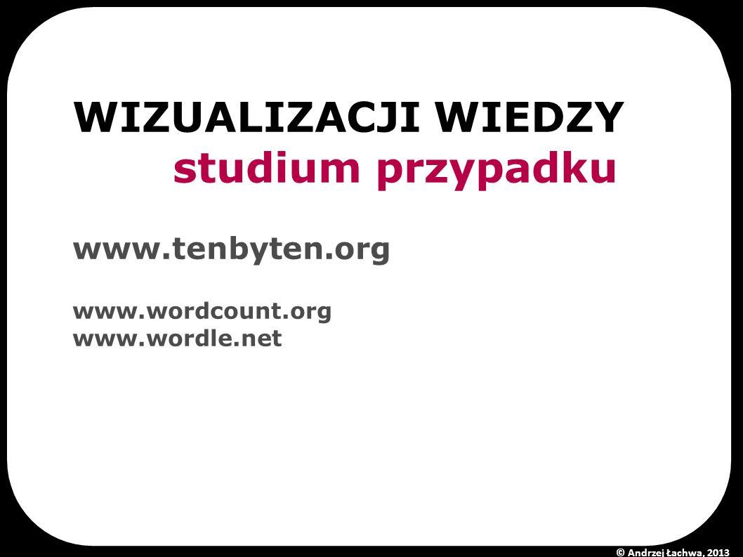 WIZUALIZACJI WIEDZY studium przypadku www.tenbyten.org www.wordcount.org www.wordle.net © Andrzej Łachwa, 2013