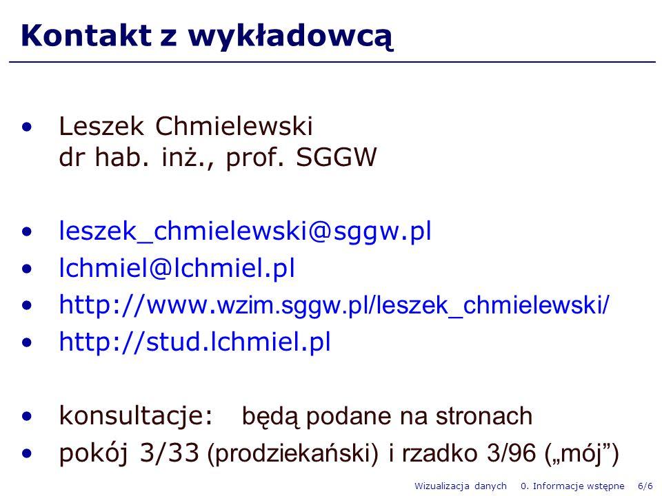 Wizualizacja danych 0. Informacje wstępne 6/6 Kontakt z wykładowcą Leszek Chmielewski dr hab.
