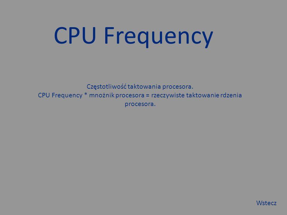 CPU Frequency Częstotliwość taktowania procesora.