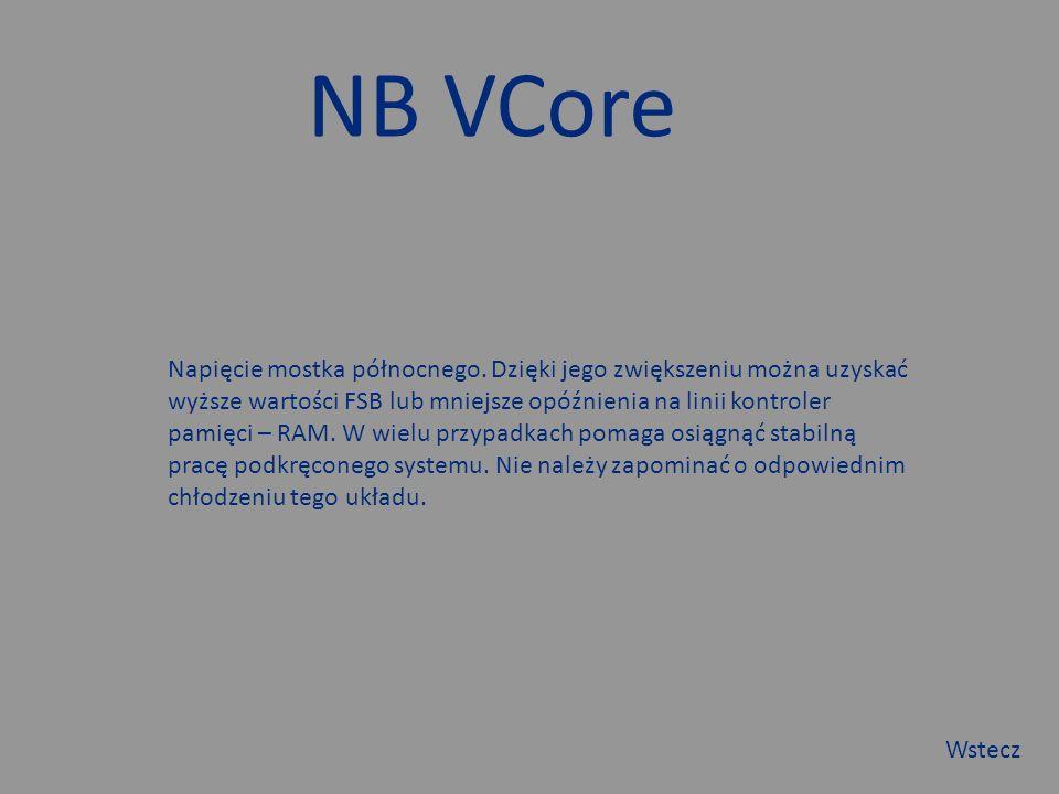 NB VCore Napięcie mostka północnego.