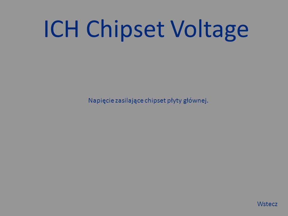 ICH Chipset Voltage Napięcie zasilające chipset płyty głównej. Wstecz