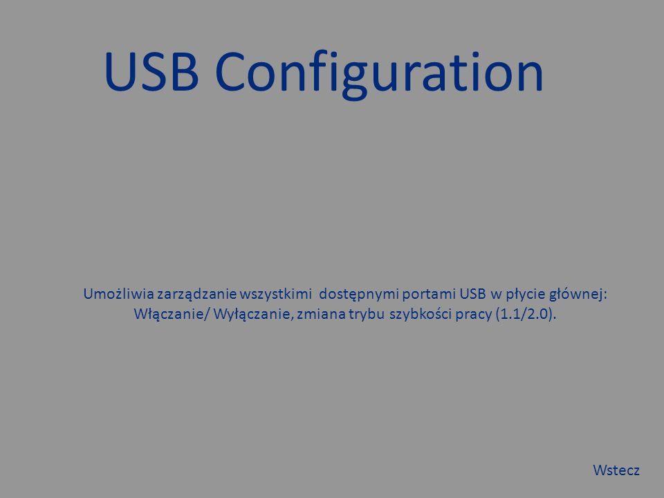 USB Configuration Umożliwia zarządzanie wszystkimi dostępnymi portami USB w płycie głównej: Włączanie/ Wyłączanie, zmiana trybu szybkości pracy (1.1/2.0).