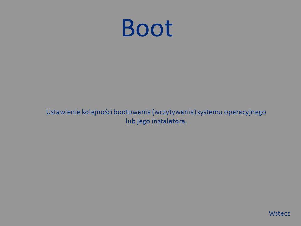 Boot Ustawienie kolejności bootowania (wczytywania) systemu operacyjnego lub jego instalatora.