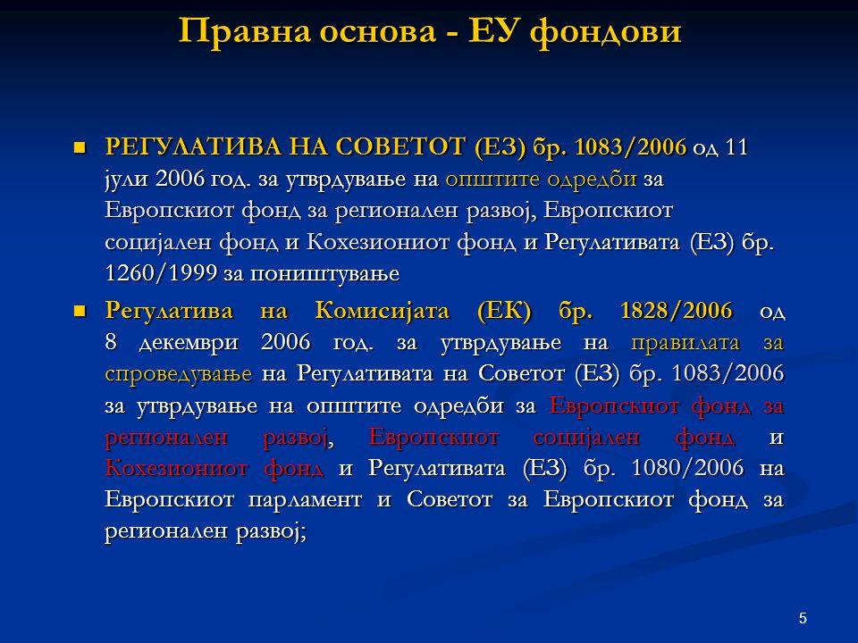 5 Правна основа - ЕУ фондови РЕГУЛАТИВА НА СОВЕТОТ (EЗ) бр.