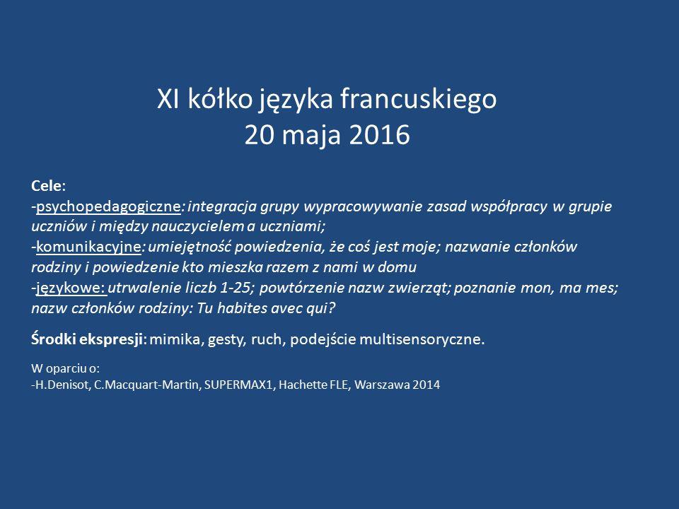 XI kółko języka francuskiego 20 maja 2016 Cele: -psychopedagogiczne: integracja grupy wypracowywanie zasad współpracy w grupie uczniów i między nauczycielem a uczniami; -komunikacyjne: umiejętność powiedzenia, że coś jest moje; nazwanie członków rodziny i powiedzenie kto mieszka razem z nami w domu -językowe: utrwalenie liczb 1-25; powtórzenie nazw zwierząt; poznanie mon, ma mes; nazw członków rodziny: Tu habites avec qui.