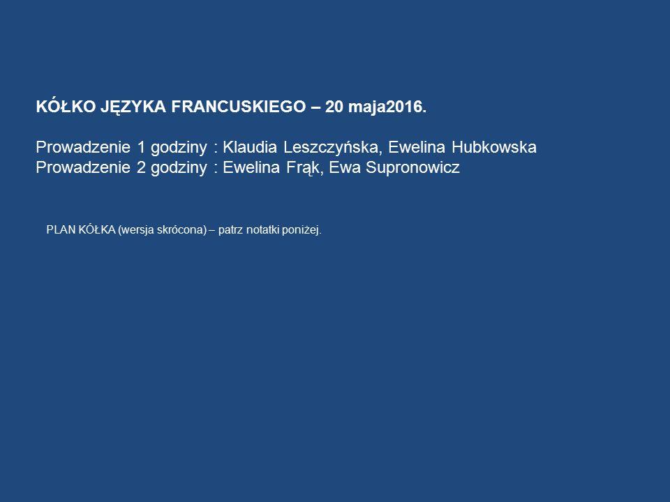 KÓŁKO JĘZYKA FRANCUSKIEGO – 20 maja2016.