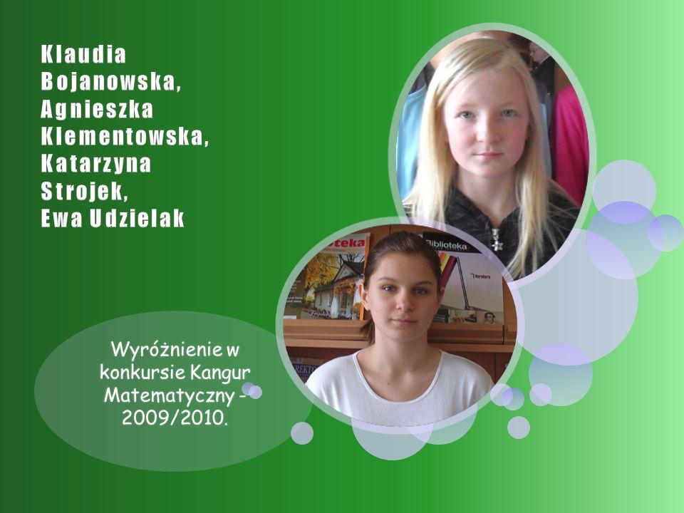 Wyróżnienie w konkursie Kangur Matematyczny - 2009/2010.