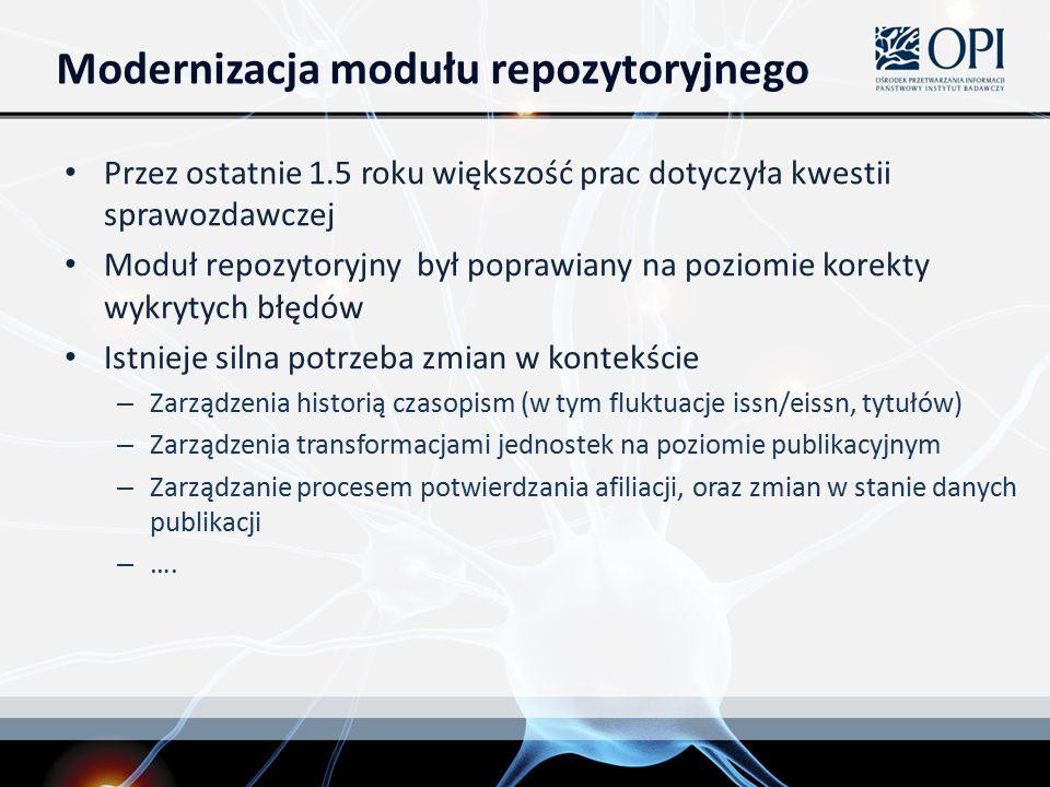 Modernizacja modułu repozytoryjnego Przez ostatnie 1.5 roku większość prac dotyczyła kwestii sprawozdawczej Moduł repozytoryjny był poprawiany na poziomie korekty wykrytych błędów Istnieje silna potrzeba zmian w kontekście – Zarządzenia historią czasopism (w tym fluktuacje issn/eissn, tytułów) – Zarządzenia transformacjami jednostek na poziomie publikacyjnym – Zarządzanie procesem potwierdzania afiliacji, oraz zmian w stanie danych publikacji – ….