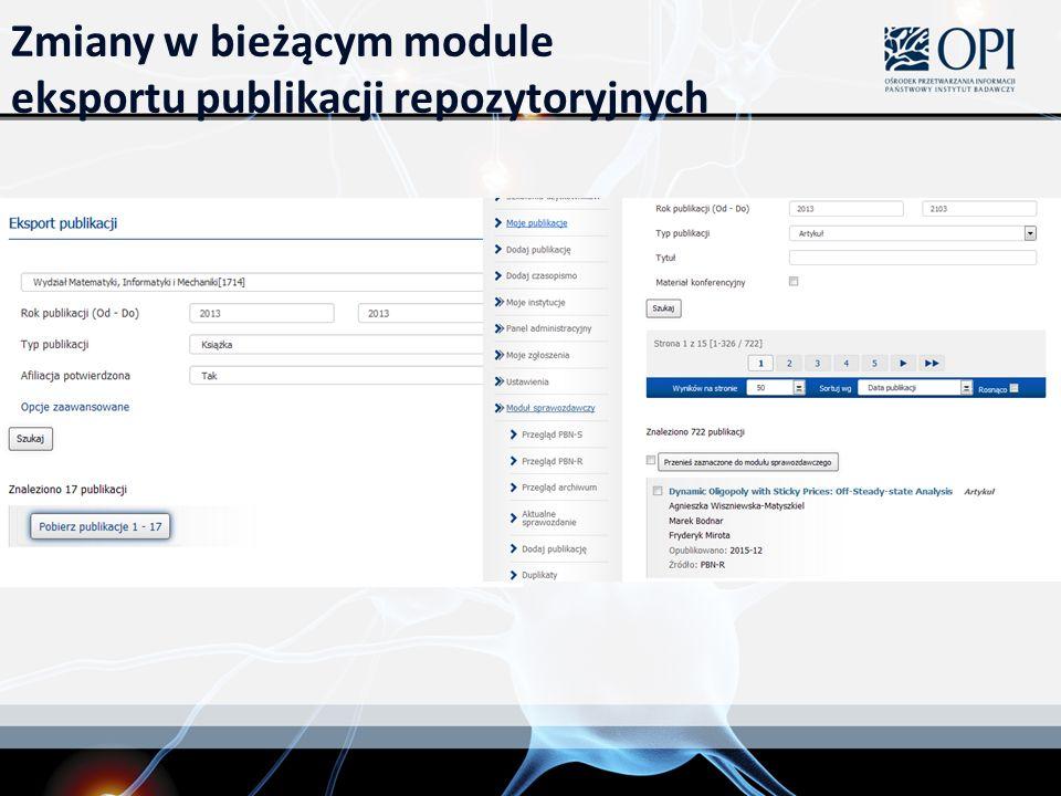 Zmiany w bieżącym module eksportu publikacji repozytoryjnych