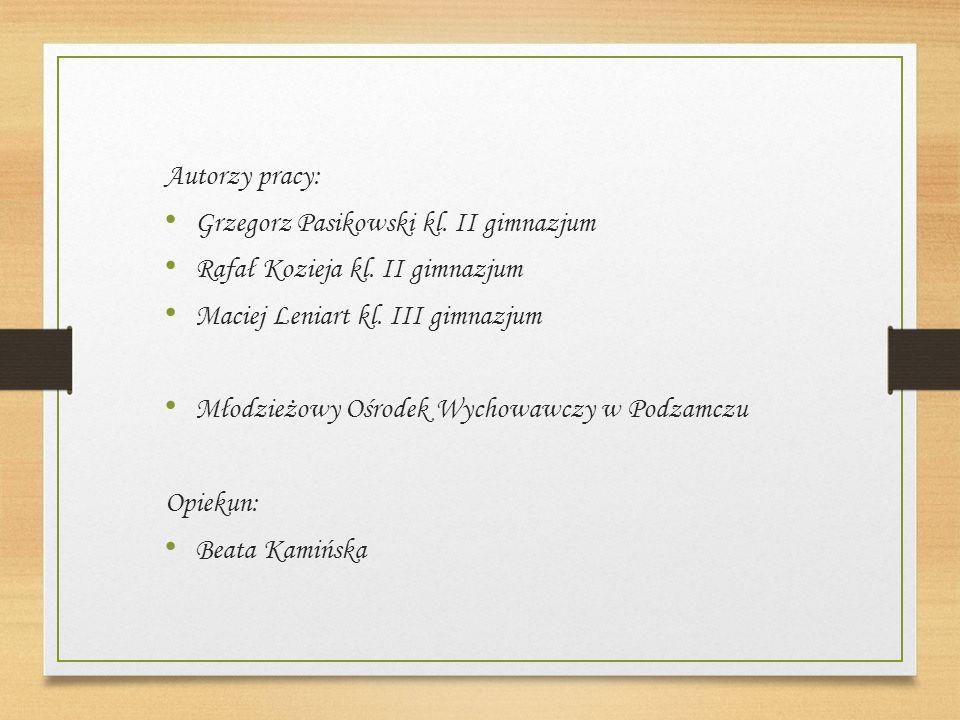 Autorzy pracy: Grzegorz Pasikowski kl. II gimnazjum Rafał Kozieja kl.
