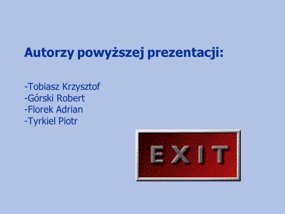 Autorzy powyższej prezentacji: -Tobiasz Krzysztof -Górski Robert -Florek Adrian -Tyrkiel Piotr