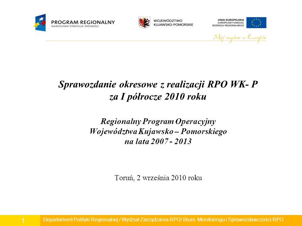 Departament Polityki Regionalnej/ Wydział Zarządzania RPO/ Biuro Monitoringu i Sprawozdawczości RPO 22 Wskaźniki rezultatu: - Liczba osób przyłączonych do kanalizacji w wyniku realizacji projektów – 1 109 osób (wartość docelowa - 33 600 os.) Do dnia 30.06.2010r.