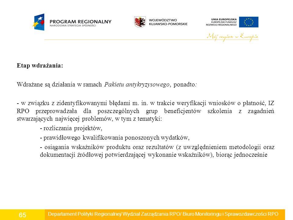 Etap wdrażania: Wdrażane są działania w ramach Pakietu antykryzysowego, ponadto: - w związku z zidentyfikowanymi błędami m. in. w trakcie weryfikacji