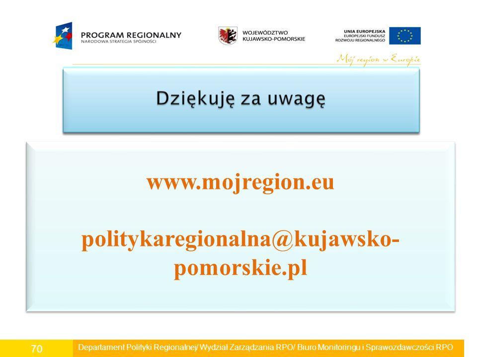 Departament Polityki Regionalnej/ Wydział Zarządzania RPO/ Biuro Monitoringu i Sprawozdawczości RPO 70 www.mojregion.eu politykaregionalna@kujawsko- p