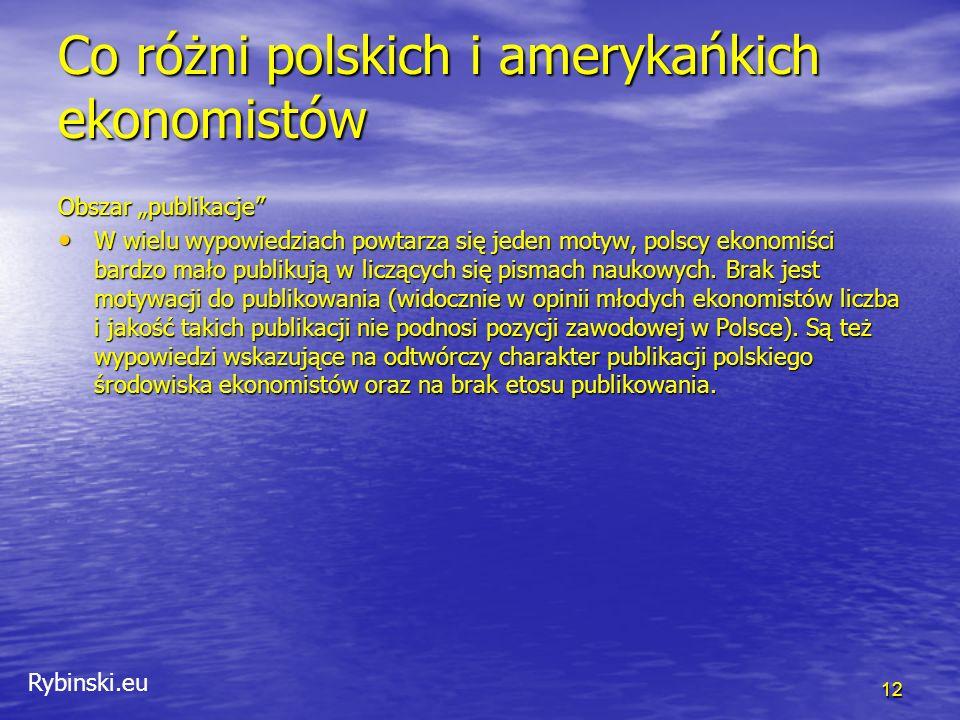 """Rybinski.eu Co różni polskich i amerykańkich ekonomistów 12 Obszar """"publikacje W wielu wypowiedziach powtarza się jeden motyw, polscy ekonomiści bardzo mało publikują w liczących się pismach naukowych."""