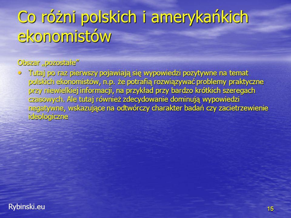 """Rybinski.eu Co różni polskich i amerykańkich ekonomistów 15 Obszar """"pozostałe Tutaj po raz pierwszy pojawiają się wypowiedzi pozytywne na temat polskich ekonomistów, n.p."""