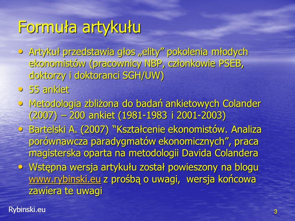 """Rybinski.eu Co różni polskich i amerykańkich ekonomistów 14 Obszar """"kwestie systemowe W tym obszarze wskazuje się na olbrzymie obłożenie pracą dydaktyczną, na zły system bodźców który nie zachęca do prowadzenia badań na najwyższym poziomie, oraz na bardzo niskie wynagrodzenia."""