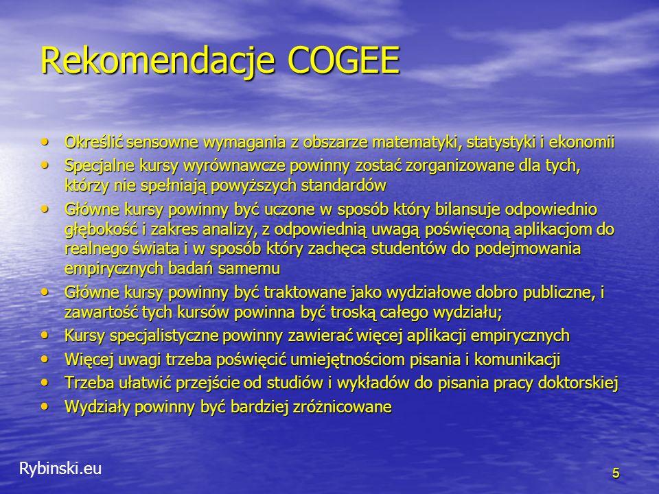 Rybinski.eu Rekomendacje COGEE Określić sensowne wymagania z obszarze matematyki, statystyki i ekonomii Określić sensowne wymagania z obszarze matematyki, statystyki i ekonomii Specjalne kursy wyrównawcze powinny zostać zorganizowane dla tych, którzy nie spełniają powyższych standardów Specjalne kursy wyrównawcze powinny zostać zorganizowane dla tych, którzy nie spełniają powyższych standardów Główne kursy powinny być uczone w sposób który bilansuje odpowiednio głębokość i zakres analizy, z odpowiednią uwagą poświęconą aplikacjom do realnego świata i w sposób który zachęca studentów do podejmowania empirycznych badań samemu Główne kursy powinny być uczone w sposób który bilansuje odpowiednio głębokość i zakres analizy, z odpowiednią uwagą poświęconą aplikacjom do realnego świata i w sposób który zachęca studentów do podejmowania empirycznych badań samemu Główne kursy powinny być traktowane jako wydziałowe dobro publiczne, i zawartość tych kursów powinna być troską całego wydziału; Główne kursy powinny być traktowane jako wydziałowe dobro publiczne, i zawartość tych kursów powinna być troską całego wydziału; Kursy specjalistyczne powinny zawierać więcej aplikacji empirycznych Kursy specjalistyczne powinny zawierać więcej aplikacji empirycznych Więcej uwagi trzeba poświęcić umiejętnościom pisania i komunikacji Więcej uwagi trzeba poświęcić umiejętnościom pisania i komunikacji Trzeba ułatwić przejście od studiów i wykładów do pisania pracy doktorskiej Trzeba ułatwić przejście od studiów i wykładów do pisania pracy doktorskiej Wydziały powinny być bardziej zróżnicowane Wydziały powinny być bardziej zróżnicowane 5