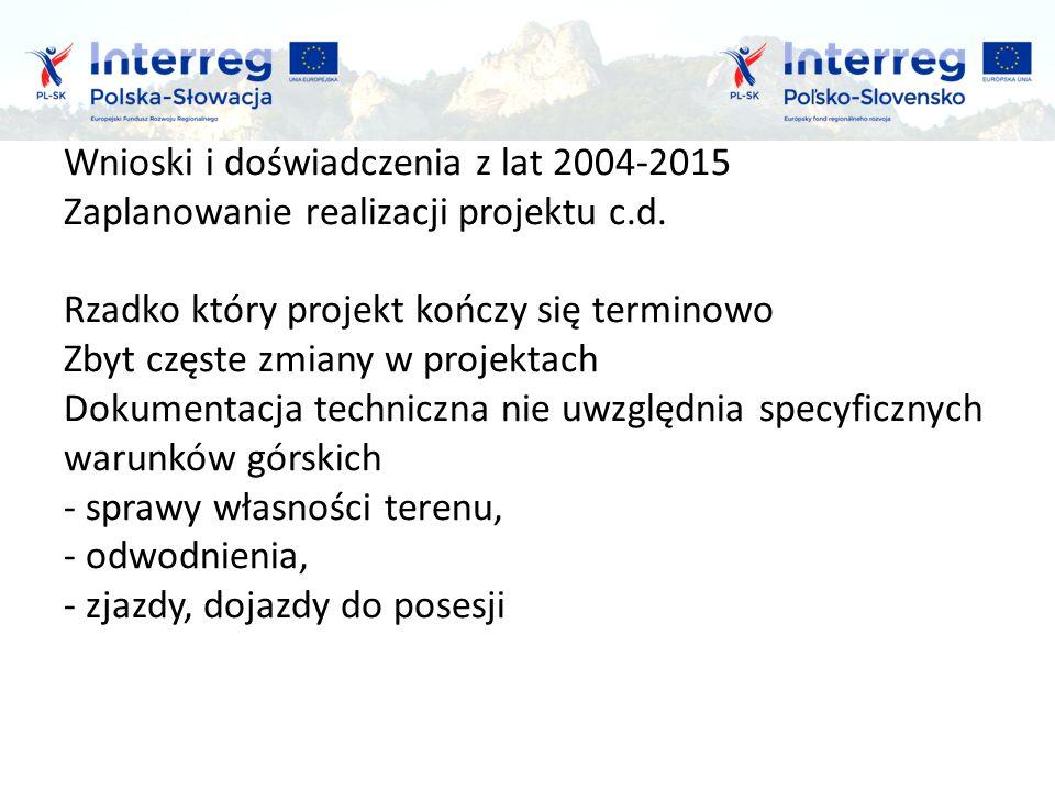 Wnioski i doświadczenia z lat 2004-2015 Zaplanowanie realizacji projektu c.d.