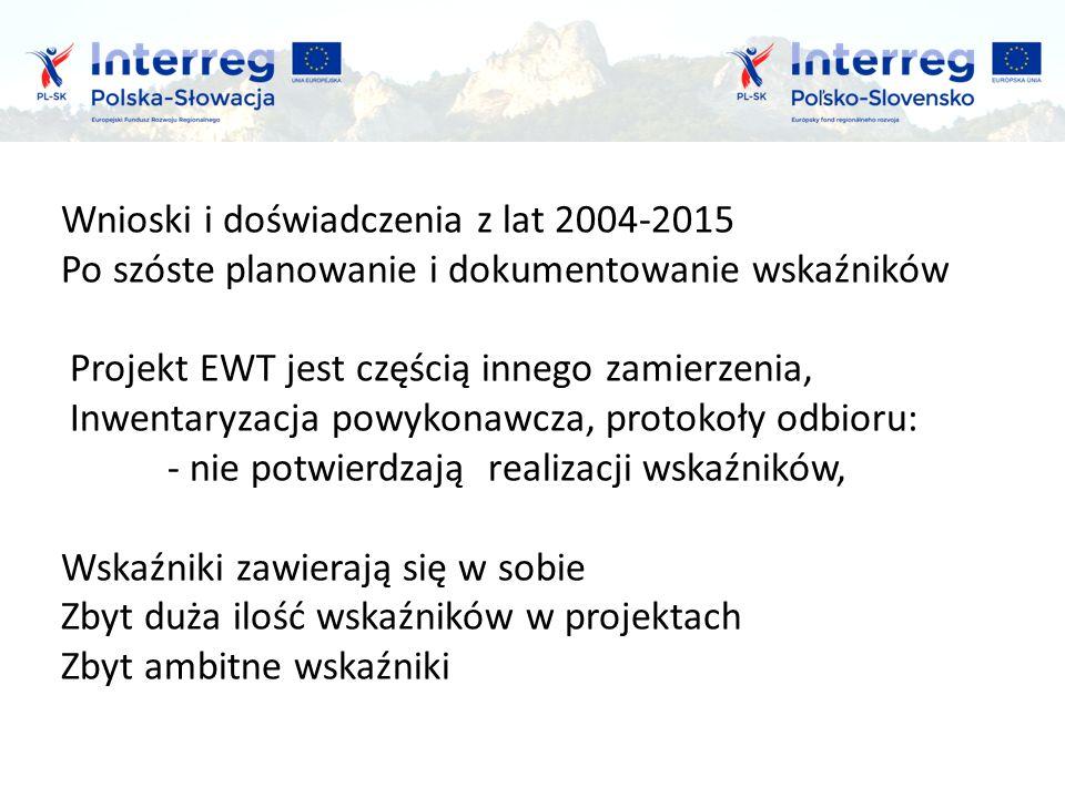 Wnioski i doświadczenia z lat 2004-2015 Po szóste planowanie i dokumentowanie wskaźników Projekt EWT jest częścią innego zamierzenia, Inwentaryzacja powykonawcza, protokoły odbioru: - nie potwierdzają realizacji wskaźników, Wskaźniki zawierają się w sobie Zbyt duża ilość wskaźników w projektach Zbyt ambitne wskaźniki