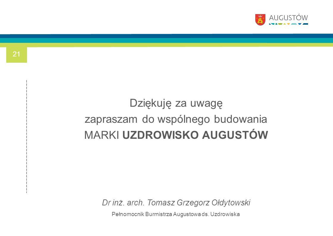 Dziękuję za uwagę zapraszam do wspólnego budowania MARKI UZDROWISKO AUGUSTÓW Dr inż. arch. Tomasz Grzegorz Ołdytowski Pełnomocnik Burmistrza Augustowa