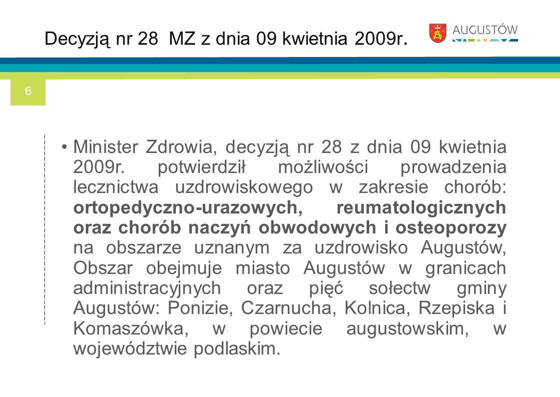 Minister Zdrowia, decyzją nr 28 z dnia 09 kwietnia 2009r. potwierdził możliwości prowadzenia lecznictwa uzdrowiskowego w zakresie chorób: ortopedyczno