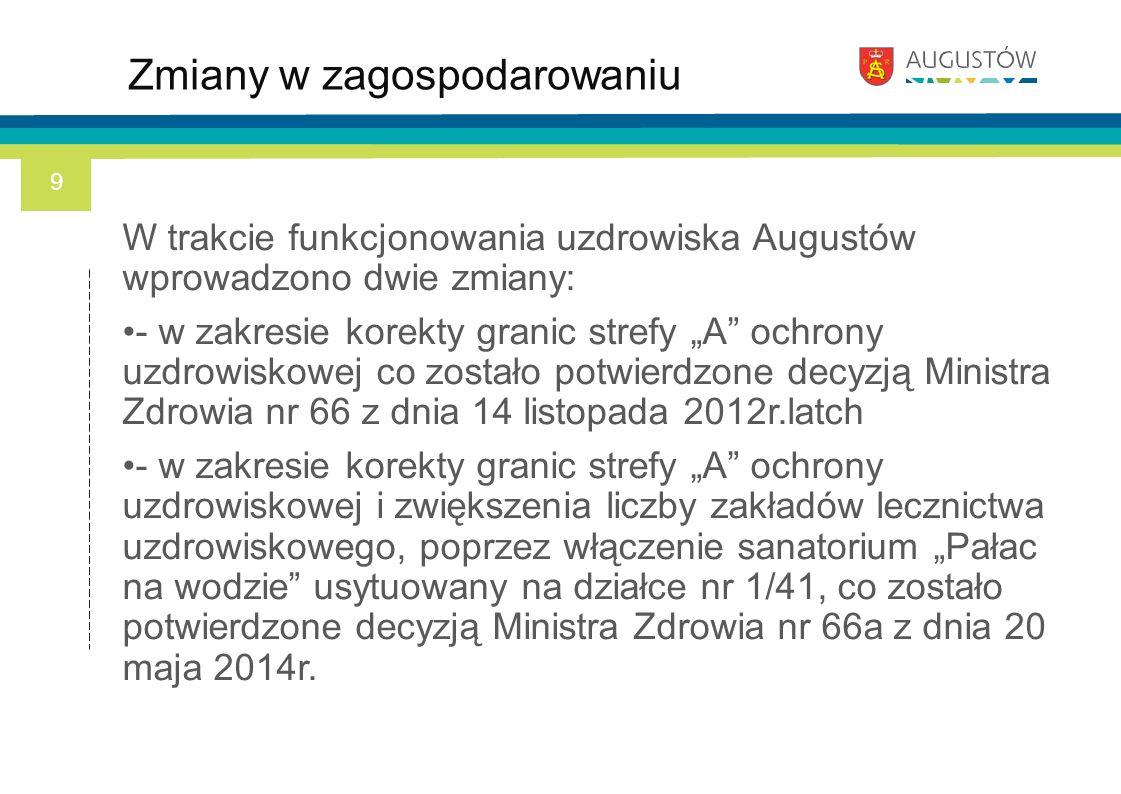 """W trakcie funkcjonowania uzdrowiska Augustów wprowadzono dwie zmiany: - w zakresie korekty granic strefy """"A"""" ochrony uzdrowiskowej co zostało potwierd"""