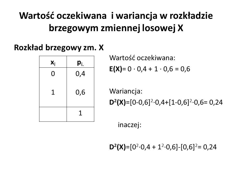 Wartość oczekiwana i wariancja w rozkładzie brzegowym zmiennej losowej X Wartość oczekiwana: E(X)= 0 ∙ 0,4 + 1 ∙ 0,6 = 0,6 Wariancja: D 2 (X)=[0-0,6] 2 ∙0,4+[1-0,6] 2 ∙0,6= 0,24 inaczej: D 2 (X)=[0 2 ∙0,4 + 1 2 ∙0,6]-[0,6] 2 = 0,24 xixi p i.