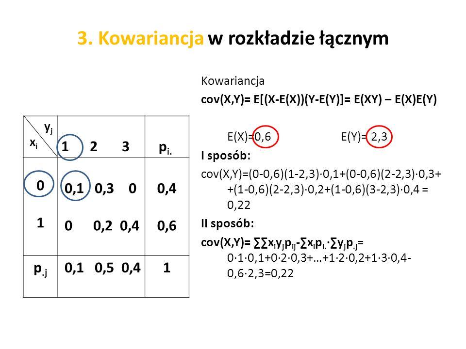 3. Kowariancja w rozkładzie łącznym y j x i 1 2 3 p i.
