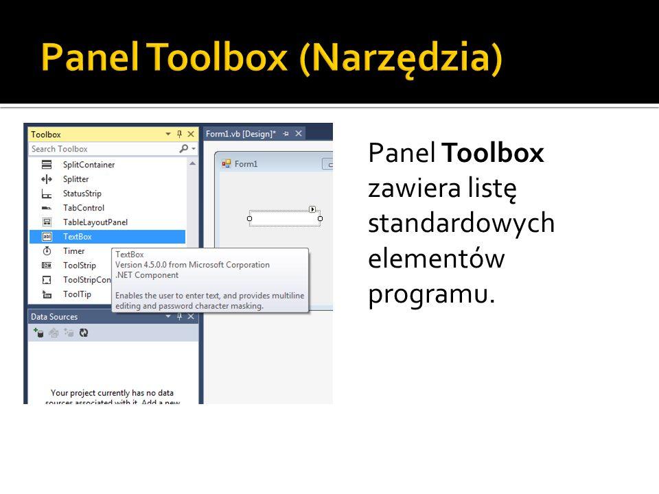 Panel Toolbox zawiera listę standardowych elementów programu.