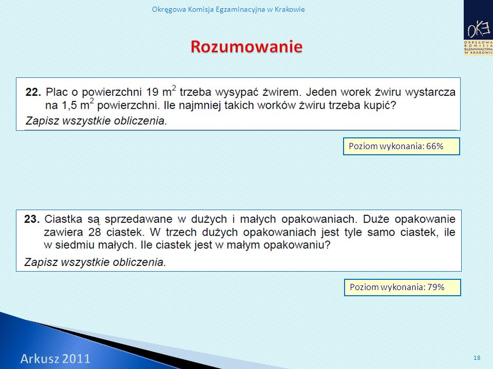 Okręgowa Komisja Egzaminacyjna w Krakowie 18 Poziom wykonania: 79% Poziom wykonania: 66%