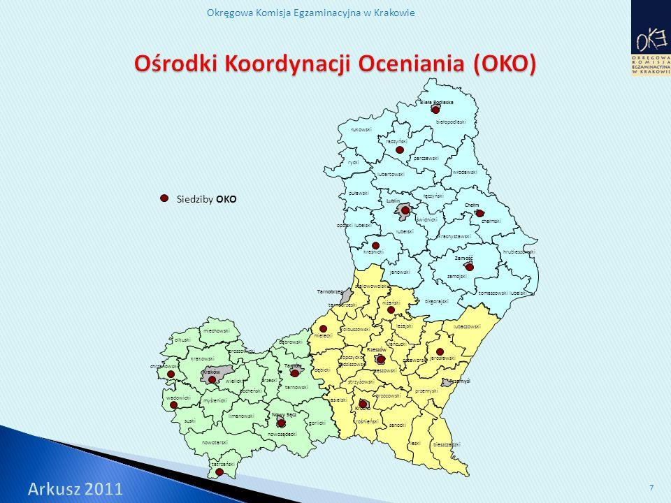 Okręgowa Komisja Egzaminacyjna w Krakowie 8 Funkcje w zespołach: PZE – 61 osób, powołanych 12 lutego 2011 r.