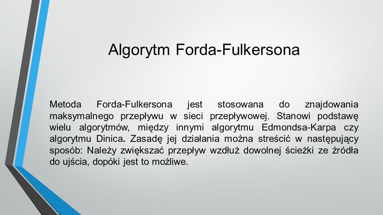 Algorytm Forda-Fulkersona Metoda Forda-Fulkersona jest stosowana do znajdowania maksymalnego przepływu w sieci przepływowej. Stanowi podstawę wielu al