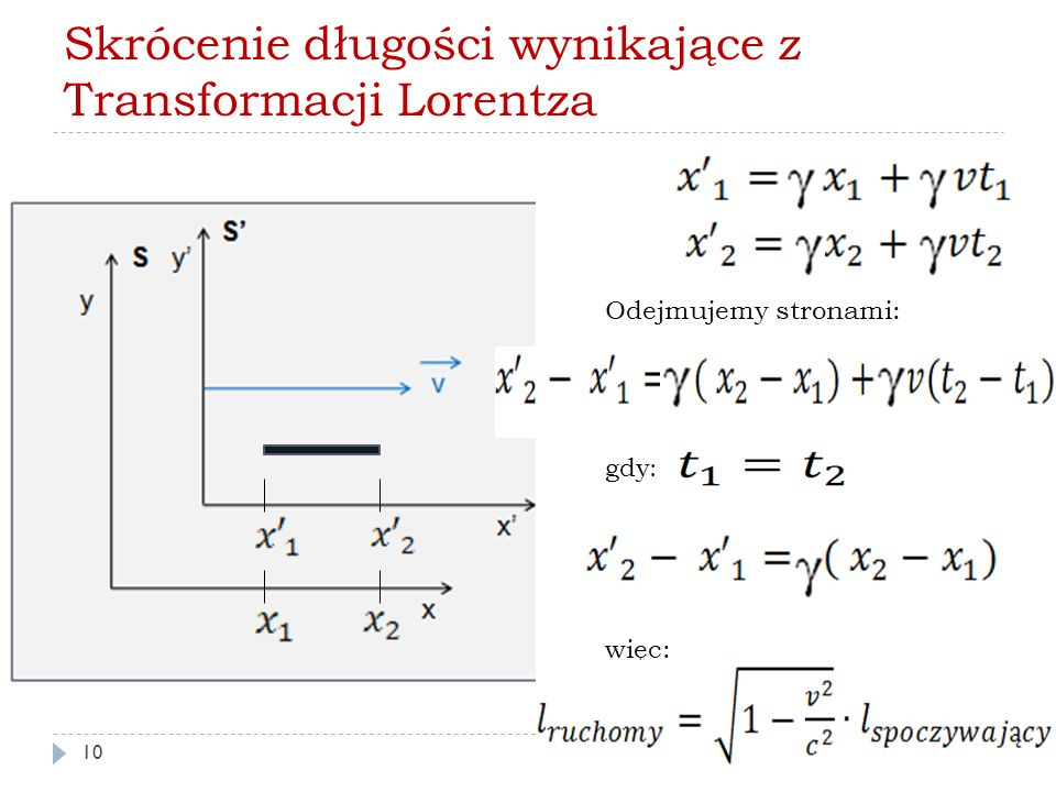 Skrócenie długości wynikające z Transformacji Lorentza Odejmujemy stronami: gdy : więc: 10