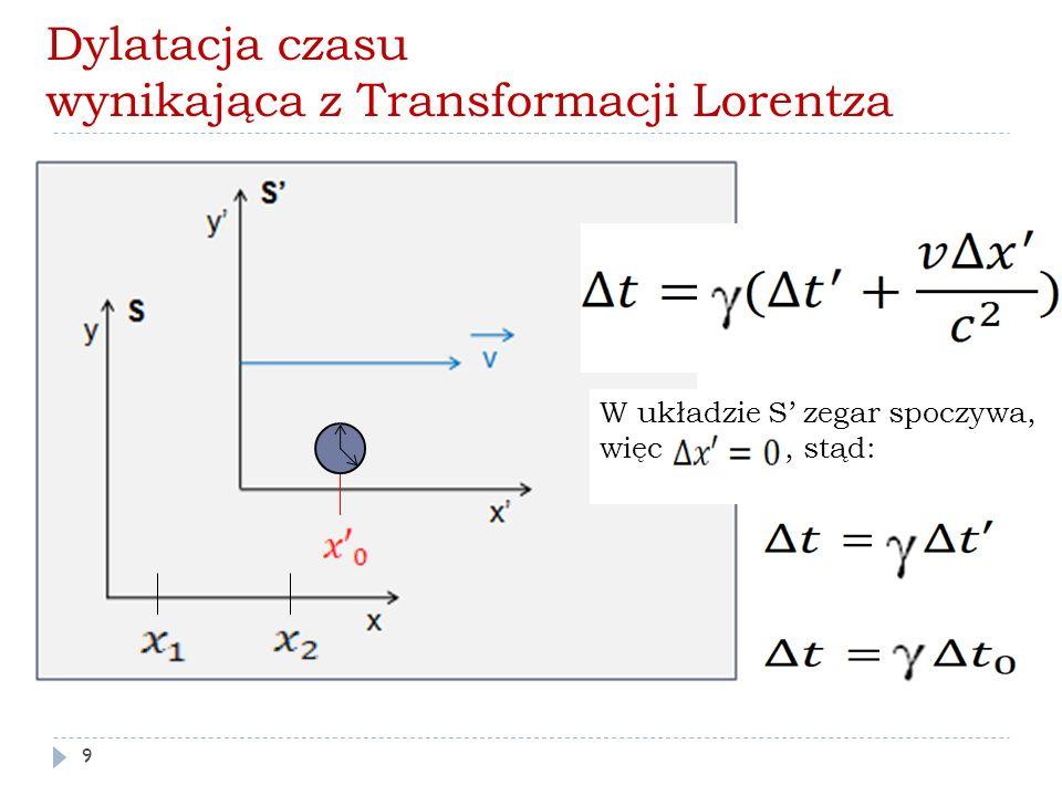 Dylatacja czasu wynikająca z Transformacji Lorentza W układzie S' zegar spoczywa, więc, stąd: 9
